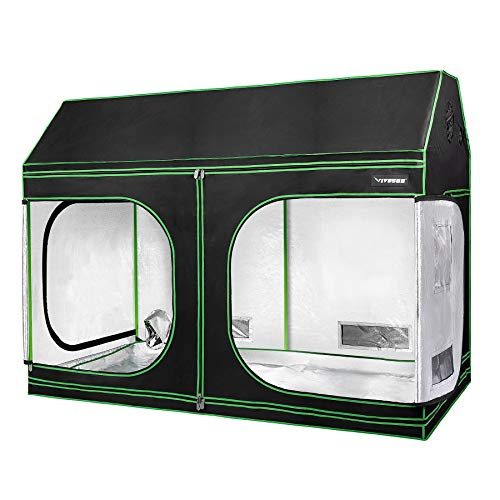 "VIVOSUN 96""x48""x72"" Indoor Grow Tent, Roof Cube Tent with Observation Window and Floor Tray for Plant Growing"