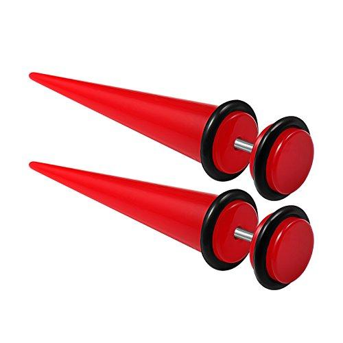 2PCS Red Acrylic 16g 1.2mm 0g 8mm Taper Black O-Rings Cheater Plug Earring Illusion Gauge Ear Lobe Piercing Jewelry 2083