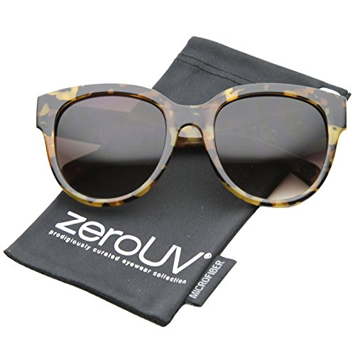 zeroUV - Oversize Block Tortoise Thick Frame Round Horn Rimmed Sunglasses 55mm (Brown-Block Tortoise / - Round Thick Glasses Rimmed