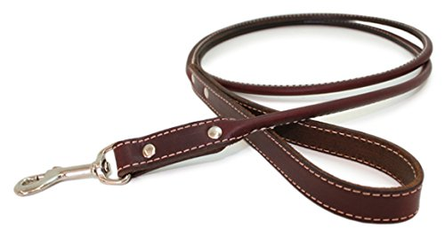 Burgundy Rolled Leather Dog Leash color  Burgundy by Auburn Leathercrafters