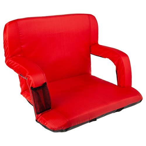 Home-Complete Wide Stadium Seat Chair Bleacher Cushion with Padded Back Support, Armrests, 6 Reclining Positions and Portable Carry Straps (Red)