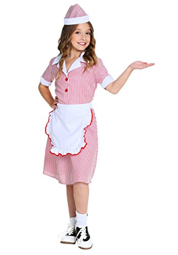 Girl's 50's Car Hop Costume (Waitress Halloween Costume Ideas)
