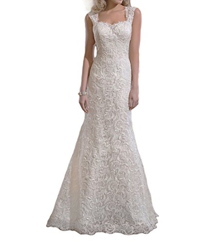 SDRESS Women's Straps Court Train Column Lace Fit-n-Flare Brides Wedding Dress Ivory Size 24
