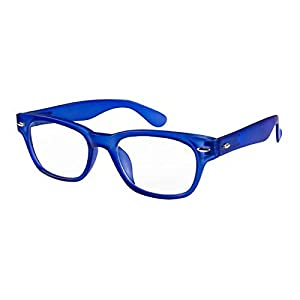 I NEED YOU Designer Woody Blue Reading Glasses Prescription Eyeglasses For Men & Women Spring Hinge And Plastic Eyeglasses Power Glass With Strength +4.0