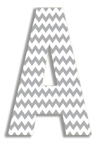 Stupell Home Décor Grey Chevron 18 Inch Hanging Wooden Initial, 12 x 0.5 x 18, Proudly Made in (Print Large Letters)