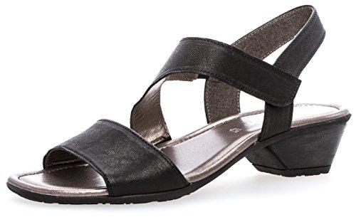 Scarpe Da Donna Gabor 64.545.02 Signore Sandalo, Sandalette Con Zona Nera Allargato Verifica