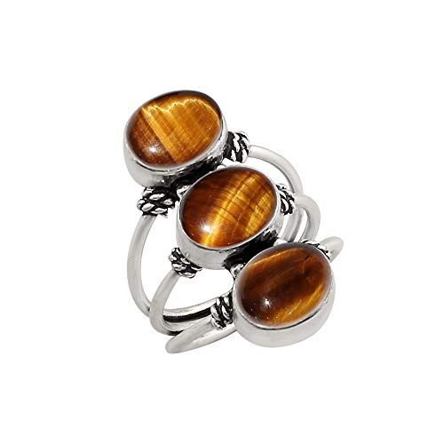 925 Silver Plated Genuine Oval Shape Tiger Eye Three Stone Ring Vintage Style Handmade Oxidized Finish for Women Girls (Size-8)
