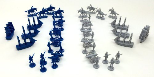 Soldier Miniature (Civil War Toy Soldiers: Set of 48 Union Blue and Confederate Grey Army Men Miniatures- Infantry, Cavalry, Artillery Cannons, and Naval Ships)