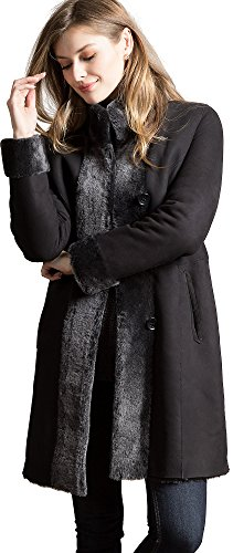 Black Leather Merino Shearling Jacket - Overland Sheepskin Co Chante Reversible Spanish Merino Shearling Sheepskin Coat