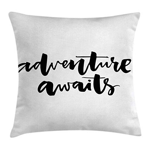 Travel Adventure Bar - Ambesonne Adventure Throw Pillow Cushion Cover, Inspirational Quote About Life and Travel Adventure Never Stops Journey Theme, Decorative Square Accent Pillow Case, 18 X 18 Inches, Black Wihte