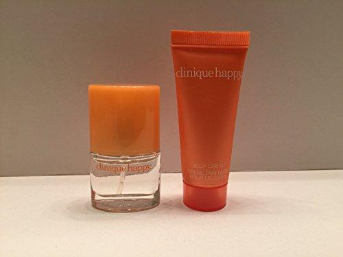 Clinique Happy .14 Oz Perfume Spray Miniature & Happy Body Lotion 15ml Set