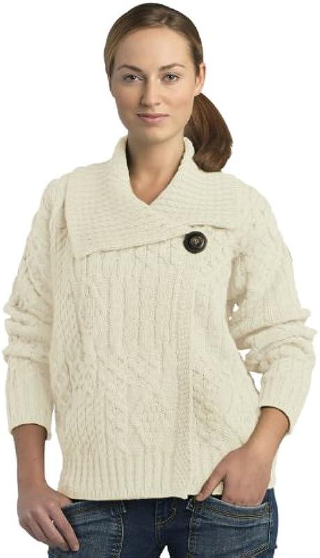 100% ekstra miękka wełna Merino One Button Cardigan, naturalny, duży: Odzież