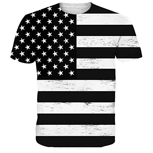 (Men's Women 4th of July T Shirt White Black Stripe Graphic Short Sleeve Crewneck Tees Tops XXL)