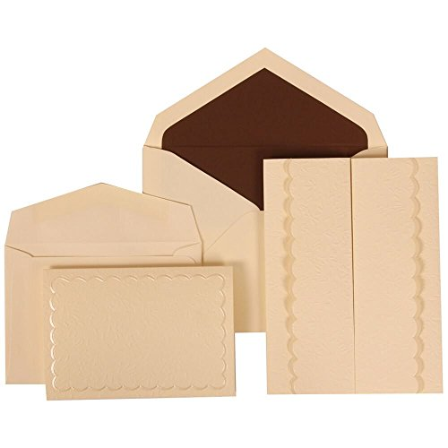 JAM Paper Wedding Invitation Combo Sets - 1 Small & 1 Large - Ivory Card with Brown Lined Envelope and Ivory Garden Tuxedo - 150/pack by JAM Paper