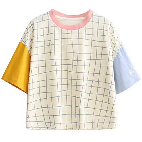 - Namnoi Clothing Store Women's Summer Harajuku Fashion Patchwork Design Short Sleeve T Shirt (White)