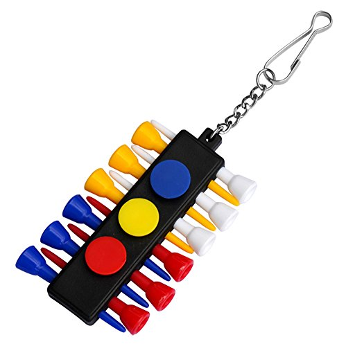 RoseSummer 1x Golf Tee Holder Carrier With 12 Plastic Tees With 3 Ball Markers Keychain