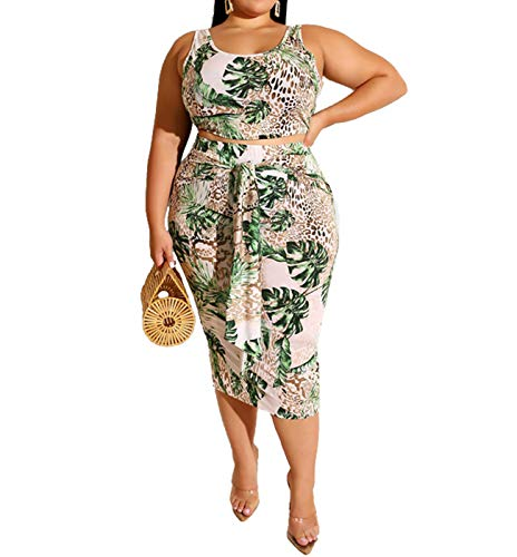Womens Sexy Plus Size 2 Piece Midi Dress Outfits - Sleeveless Tie Dye Print Tank Crop Top Bodycon Skirts Set Green 4XL