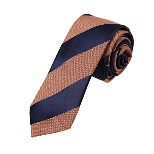 Brown Micro Stripe (DAE7A24H Dark Blue Brown Stripes Microfiber Skinny Tie Casual Boyfriend Narrow Tie By Dan Smith)