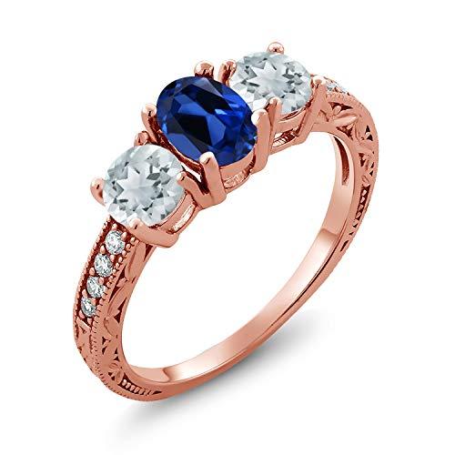 Gem Stone King 1.82 Ct Blue Simulated Sapphire Sky Blue Aquamarine 18K Rose Gold Plated Silver Ring (Size 5) (Aquamarine 18k Rose)