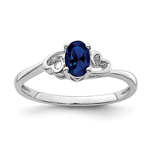 925 Sterling Silver Created Sapphire Band Ring Size 7.00 Birthstone September Gemstone Fine Jewelry Gifts For Women For Her