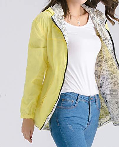 Giacca Moda Cime Con Jacket Cappuccio Casual fashion Manica Vento Simple Cappotto Cerniera Autunno Coat Hoodie Outerwear Primavera Giallo Tops Giovane Donne A Lunga Giacche Felpa 6Pwgq