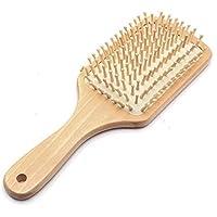 فرشاة شعر طبية مضادة للكهرباء السكونية ومصنوعة من الخشب وبمقبض على شكل مجداف ومع فتحة، وبشعيرات من الكيراتين لمساج الشعر