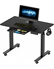 SHW Electric Height Adjustable Standing Desk w/ Accessories, Black