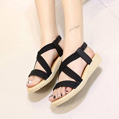 ANBOO Flat Sandals Bohemia Leisure Women Shoes Black Toe Peep Bandage Elastic Outdoor HCYCSwnarq