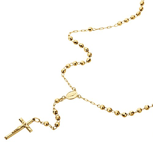 14K Gold Tri-color, Yellow or White Gold Chain 3mm DC Bead Rosary Chain Necklace (16, 18, 20, 24 Inches), 16'' by Double Accent (Image #7)