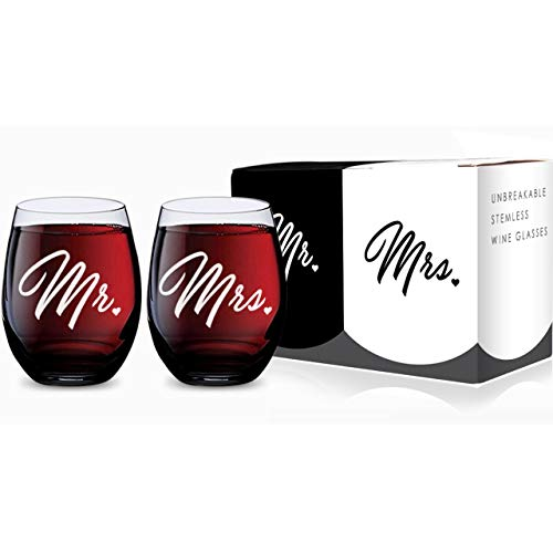 Mr and Mrs Stemless Wine Glasses for Bride and Groom Wedding Celebration (Set of 2), Made of Unbreakable Tritan Plastic and Dishwasher Safe - 16 Ounces