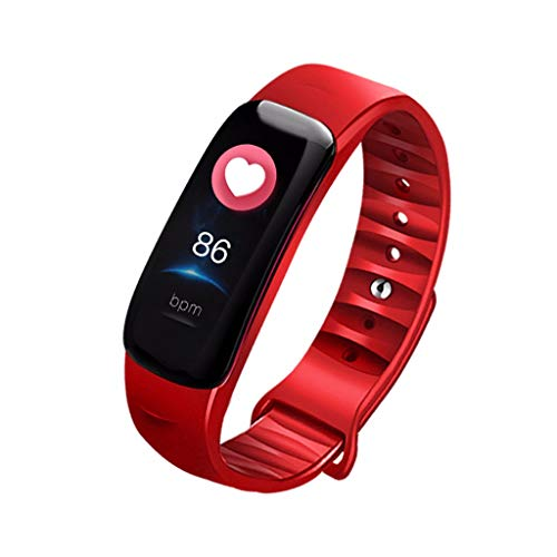 Smart Watch Sports Fitness, NDGA 2019 Activity Heart Rate Tracker Blood Pressure Calories Wrist Watch for Android (Red)