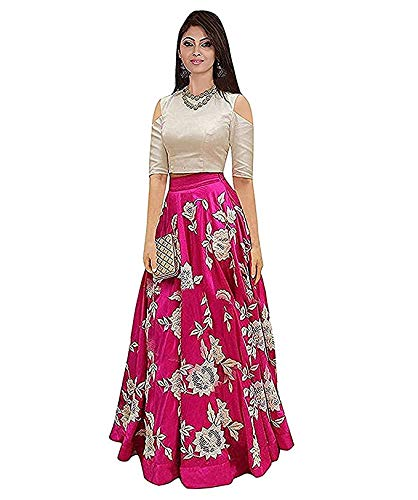 3dab000f97 D FASHION GALLERY Women's Bangalori Satin Long Skirt Gown and Top (Pink):  Amazon.in: Clothing & Accessories