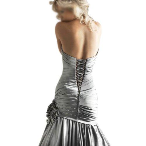 BRIDE lange Herz GEORGE Grau elegante Ballkleid Ausschnitt gefaltet BRwqdvqaxI
