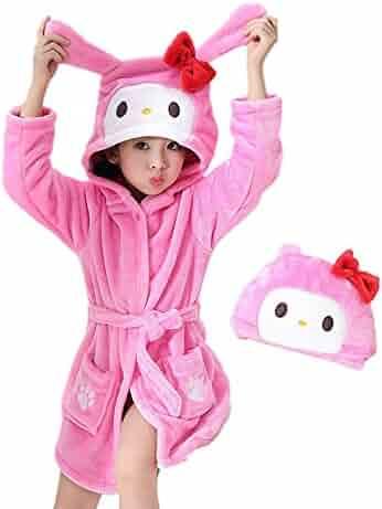 46d612ce2d Toddler Bath Robe Girls Boys Fleece Hooded Bathrobe Kids Animal Pajamas  Children s Sleepwear Toddler Plush Kimono