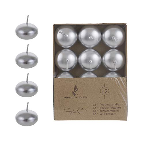 """Mega Candles 24 pcs Unscented Silver Floating Disc Candle 