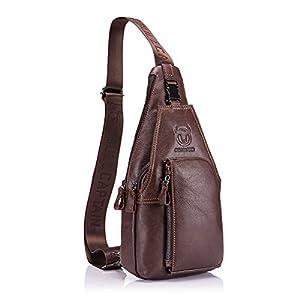 Charminer Men Chest Bag , Genuine Leather Crossbody Shoulder Bag Sling Bags Backpack Messenger Bag Daypack For Business Casual Sport Hiking Travel Brown