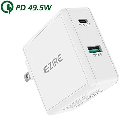 Ezire USB C PD Wall Charger+Quick Charge 3.0 49.5W Power Delivery Type-C Fast Wall Charger with Foldable Plug PD Power Adapter