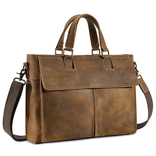 Kattee Leather Messenger Bag for Men, 15.6 Inch Laptop Briefcase Computer Satchel School Shoulder Bag
