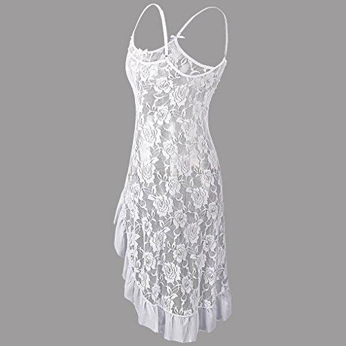 Vêtement Devant Blanc Robe En Fine Derriere Courte De Nuit Lingerie string Longue Dentelle Acmede Femme Nuisette Avec Sexy G qPw6SUxS