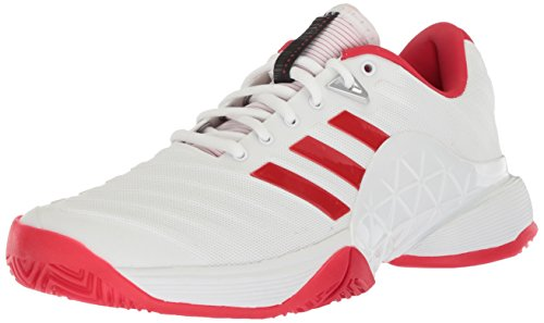adidas Women's Barricade 2018 W Tennis Shoe, White Scarlet, 9.5 M US