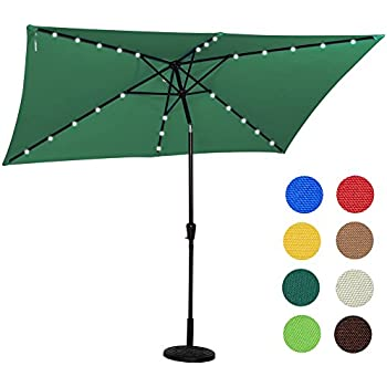 Sundale Outdoor Rectangular Solar Powered 22 LED Lighted Outdoor Patio  Umbrella With Crank And Tilt,