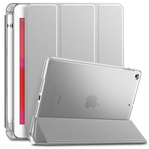 Infiland iPad Mini 5 2019 Case with Apple Pencil Holder, Ultra Slim Lightweight Stand Case with Translucent Frosted Back Smart Cover for Apple iPad Mini 5th Gen 7.9-inch 2019 Release (Silver)