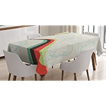 Vintage Decor Tablecloth by Ambesonne, Retro Hot Air Balloon in Rainbow Destination Adventure Follow Your Dreams Icon Pop Boho Print, Dining Room Kitchen Rectangular Table Cover, 52 X 70 Inches