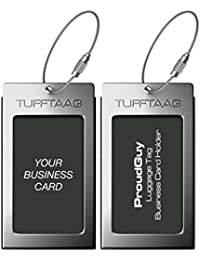 Luggage Tags Business Card Holder TUFFTAAG PAIR Travel ID Bag Tag - Gunmetal 52227d99df81e