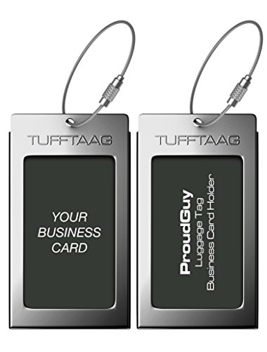 Luggage Tags Business Card Holder TUFFTAAG PAIR Travel ID Bag Tag - Gunmetal by ProudGuy