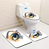 Family Bathroom Set of 3, Bathroom Rug + Contour pad + lid Toilet seat Eye,Fantasy Womans Eye Make Up Butterfly Wing Vibrant Colors Eyelashes Female Looking Decorative,Multicolor Flannel Carpet