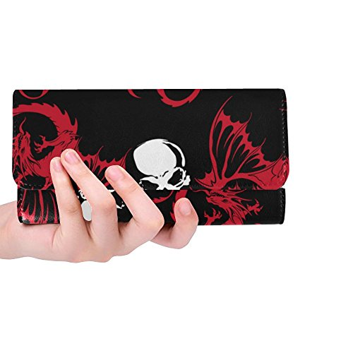 InterestPrint Wallet Womens Wallets Dragon Skull Trifold Wallet Long Clutch Purse Great Gift For Girl
