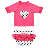 RuffleButts Little Girls Candy Polka Heart Ruffled Rash Guard Bikini - Candy ...