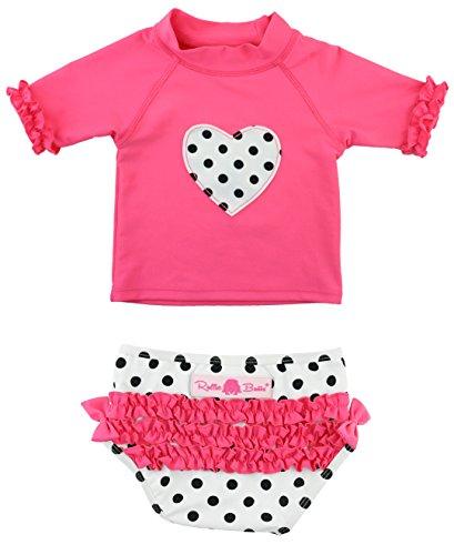 RuffleButts Infant / Toddler Girls Candy Polka Heart Ruffled Rash Guard Bikini - Candy - 12-18m