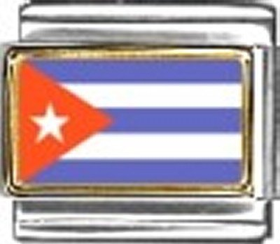 Cuba Photo Flag Italian Charm Bracelet Jewelry - Italian New 9mm Photo Charm